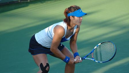 Li Na during her match with Elena Baltacha at Indian Wells. Picture: NINO SEVERINO