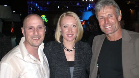 Elena and Nino Severino with Nigel Sears at the players party at Indian Wells. Picture: NINO SEVERIN
