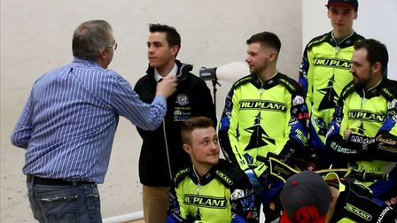 Photographer Steve Waller, left, adjusts team manager Ritchie Hawkins' attire at the press launch. P