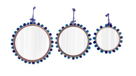 Turquoise and Purple Pom Pom Mirrors, Raj Tent Club. Picture PA Photo/Handout.