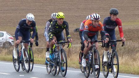 The chasing group climb into Layer in the Jock Wadley Memorial Road Race – Morris Bacon is on left.