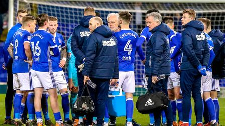 Town manager Mick McCarthy calls his players around him at the end after the Blues lost 3-0 to Hull