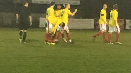 Matthew Price, celebrating the first of his brace of goals at Potters Bar on Tuesday night, scored t