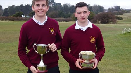 Conal Downing (left) with the Sam Jaggard Trophy and Louis Martin of Haverhill with the Nick Reiss M