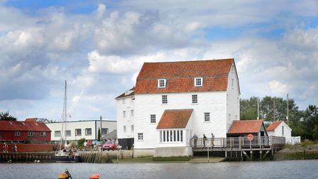 A sailors view of Suffolk from the River Deben heading towards Woodbridge. The Woodbridge Tide Mill.