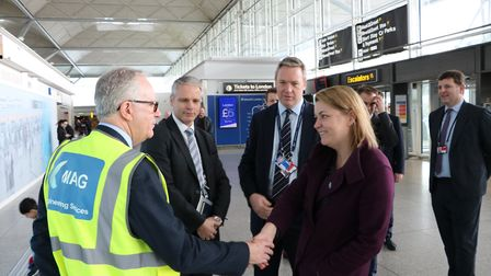 Baroness Sugg meeting members of the London Stansted transformation project team and CEO Ken O'Toole