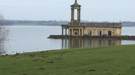 The distinctive Normanton Church, jutting out into the reservoir, near the start of the weekly Rutla