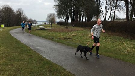 A man and his dog in action at last weekend's Rutland Water parkrun, which atttracted a field of 126