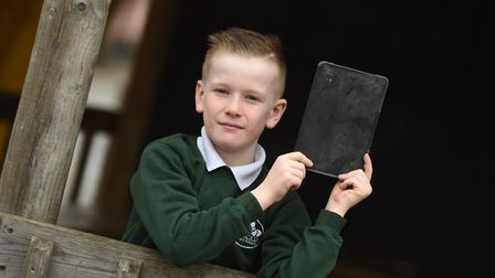 Joseph Hull who is raising money for Occold Primary School after their iPads were stolen. Picture: G