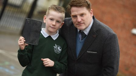Joseph with Occold headteacher Paul Parslow-Williams. Picture: ARCHANT