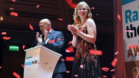 Young presenter Amber Lennox with Terry Baxter at the 2016 Raising the Bar Awards. Could you join hi