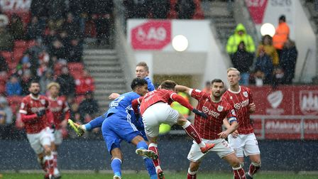 Jordan Spence heads over the bar at Bristol City late in the first half Picture Pagepix