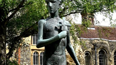 The statue of St Edmund in front of the Abbey West Front in Bury St Edmunds . Picture: ANDY ABBOTT