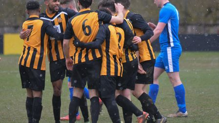 Stowmarket Town celebrate a goal during their 4-0 win over Brantham Athletic. Picture: BEN POOLEY