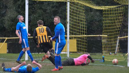Stowmarket Town's star striker Josh Mayhew adds another strike to his name against Brantham. Picture