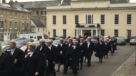 The procession of the Suffolk Justice Service at St Edmundsbury Cathedral on Sunday. Picture: MICHAE