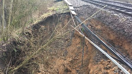 A landslip damaged the railway between Alresford and Great Bentley. Picture: NETWORK RAIL
