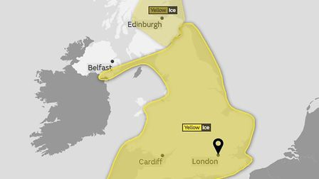 A yellow weather warning of ice last until 10am on Monday, March 19. Picture: MET OFFICE