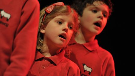 Kersey Primary School rehearsing in the concert hall. Picture: SARAH LUCY BROWN