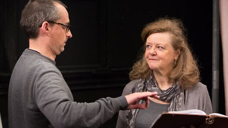 Director Tony Casement and Amanda Bellamy in rehearsals for Eastern Angles spring tour. Guesthouse.
