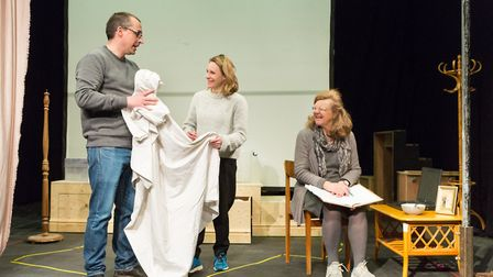 Director Tony Casement, Clare Humphrey and Amanda Bellamy in rehearsals for Eastern Angles spring to