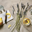 Ingredients for Lemon Lavender & Thyme Concentrate featured in Fresh Clean Home by Wendy Graham, pho