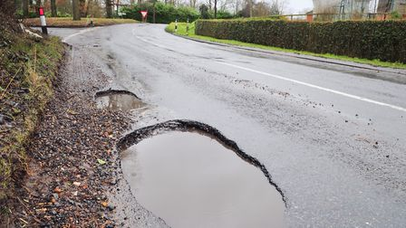 Potholes on the Women's Tour route at Middlewood Green near Debenham. Picture: SARAH LUCY BROWN