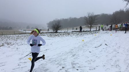 All-white: approaching the finish of last Saturday's Panshanger parkrun, held at Hertford. Picture: