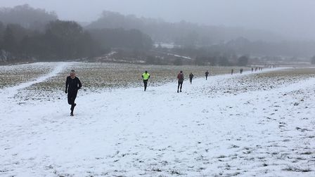 The snowy scene during the 'sprint' to the finish at last Saturday's Panshanger parkrun. Picture: CA