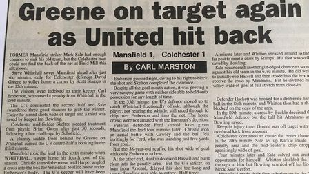How the East Anglian Daily Times reported on the U's 1-1 draw at Mansfield in October, 1997