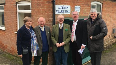 Lord Deben, pictured centre, with Bawdsey Coastal Partnership members, l-r, vice chairman Anne Page,