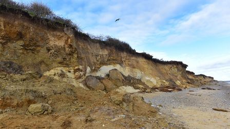 Examples of coastal erosion on the beach at Thorpeness. Picture: SARAH LUCY BROWN
