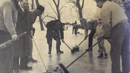 Curling on the Castle Meadow at Framlingham in 1963. It was believed to be the first time the game h