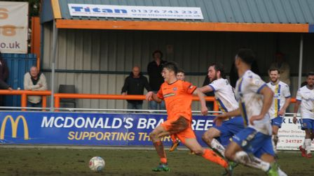 Diaz Wright, on loan at Iron from Colchester United, on the ball. He made an impressive debut for Br