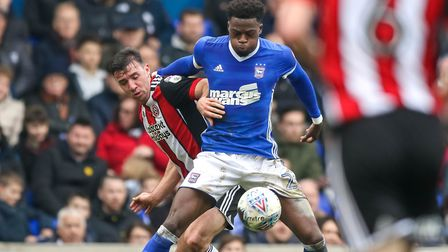 Dominic Iorfa on the ball during the Ipswich Town v Sheffield United match. Picture: Steve Waller