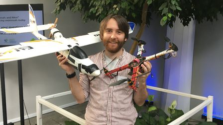 Dr Tom August with some of the drones he used in early trials