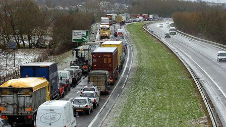 There are tailbacks on the A14 at Claydon eastbound following a two-vehicle collision this morning (