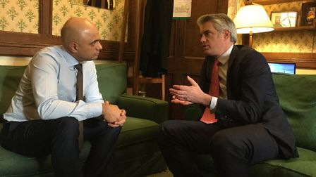 Local Government Secretary Sajid Javid listens as James Cartlidge explains the problems of planning