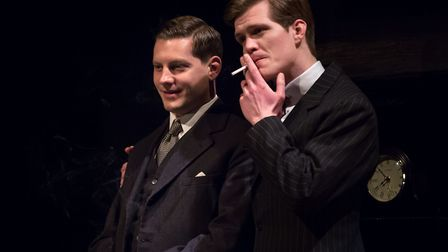 Rope, by Patrick Hamilton, at the New Wolsey Theatre. L-R James Sutton & George Kemp.. Photo: Mark S