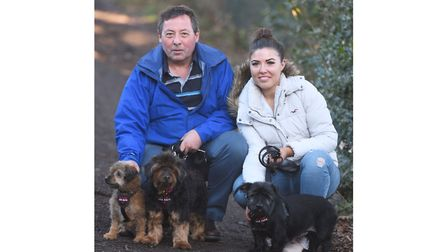 The trio of elderly terriers at Martlesham RSPCA have found a new home. Picture are new owners, Soph