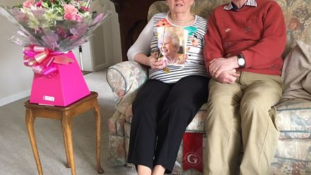 Jean and Colin Hawkins were delighted to receive a card from the Queen on their big day. Picture: JI