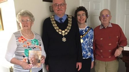 The pair were paid a special visit by Stowmarket Town Mayor Dave Muller. Picture: JILL SAINSBURY