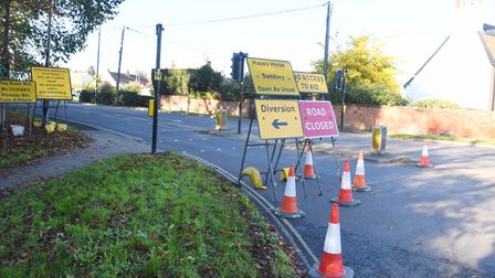 The Woods Lane closure which has caused disruption in Woodbridge and Melton. Picture: GREGG BROWN
