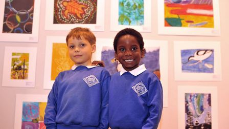 Elliott and Jamal at the opening of the Young Art East Anglia Exhibition at the Peter Pears Gall