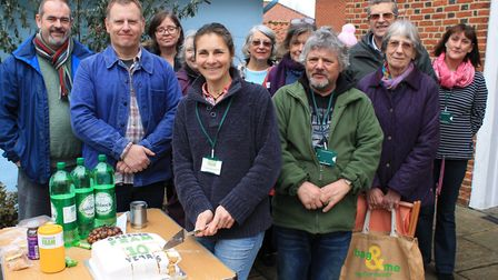 Greener Fram celebrates its 10th anniversary with a cake cutting at its Swap and Mend event. Picture