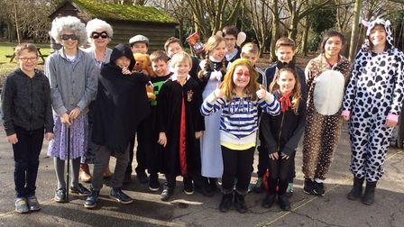 Class three pupils at Charsfield Primary School dressed as their favourite book characters. Picture: