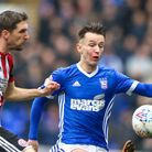 Bersant Celina and Enda Stevens battle away in the first half at Portman Road. Picture: Steve Wal