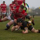 Zak Loader scores for Southwold in their 50-3 win over Thetford. Picture: LINDA CAYLEY