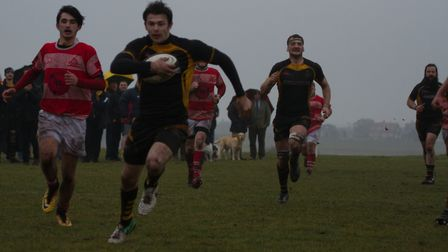 Jonathan Utting on his way to a score for Southwold. Picture: LINDA CAYLEY