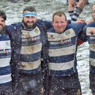 Chelmsford Rugby Club players celebrate their win over Ipswich. Picture: CRFC